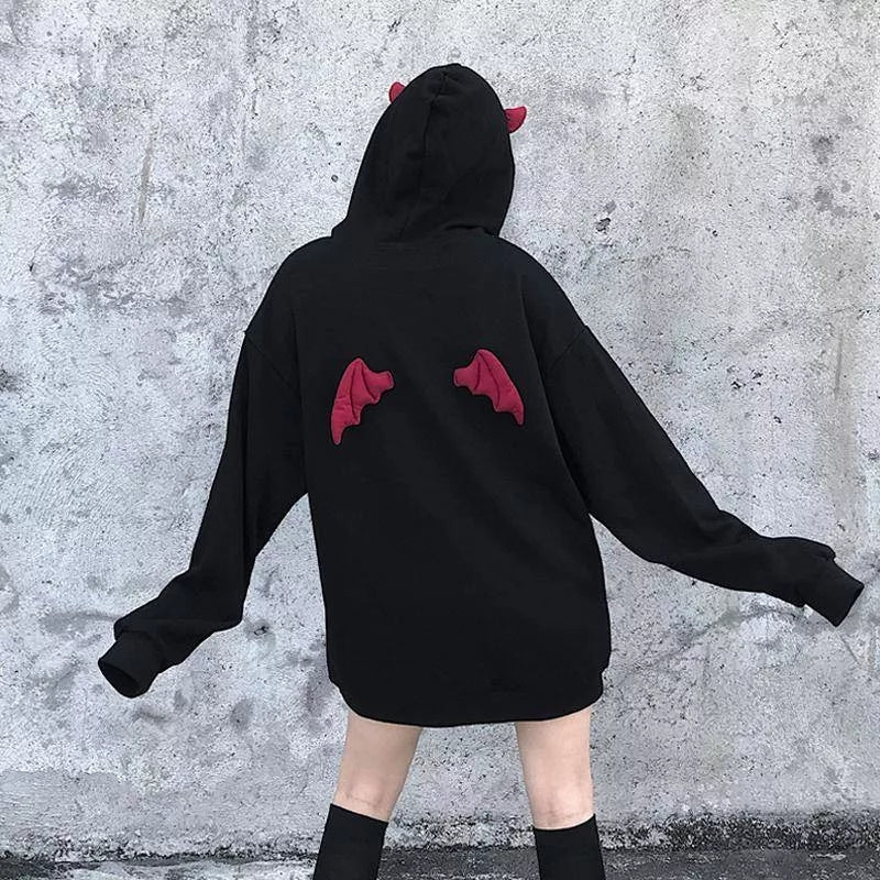 Gothic Devil Horn And Wings Hoodie Pullover