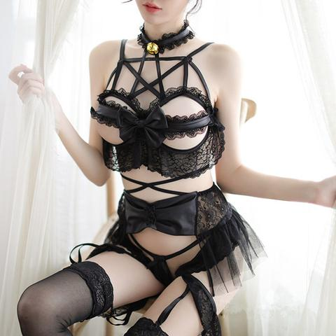 Gothic Lolita Pentagram Bat Wings Lingerie Set