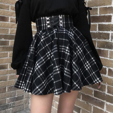 Gothic Harajuku Black White Lace Up Plaid Skirt