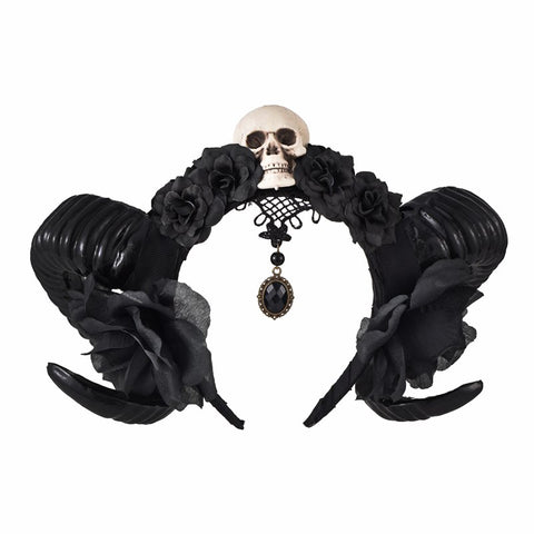 Gothic Devil Horns Skull Roses Halloween Headband Headdress