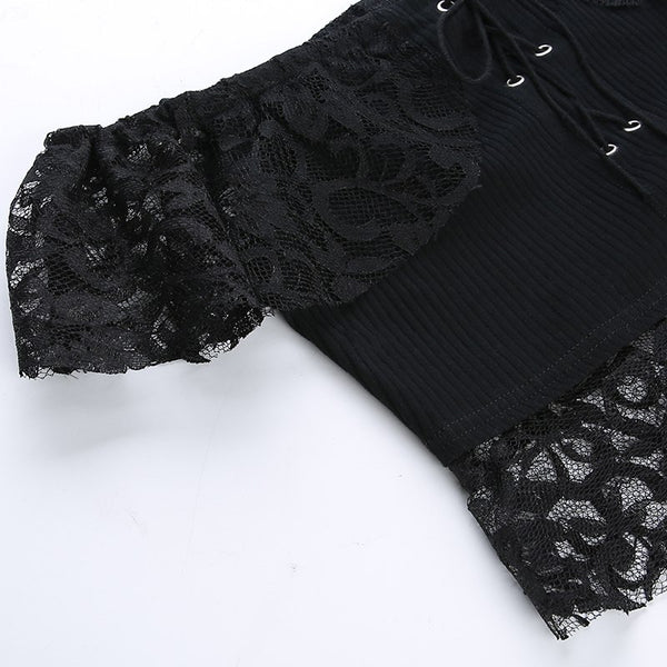 Gothic Sexy Lace Off Shoulder Crop Top