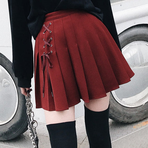 Gothic Grunge Eyelet Lace Up Pleated Mini Skirt