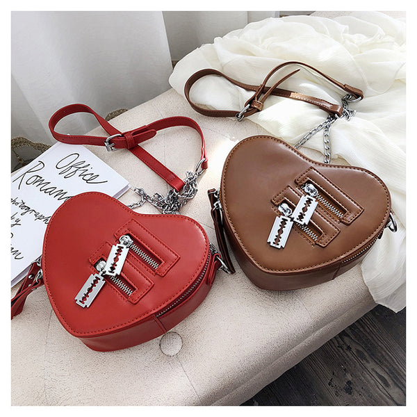Gothic Heart Shaped Blade Zipper Chain Bag