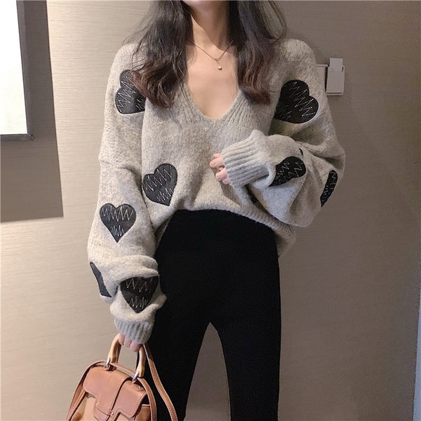 Gothic Harajuku Heart Love V-Neck Knitted Pullover Top