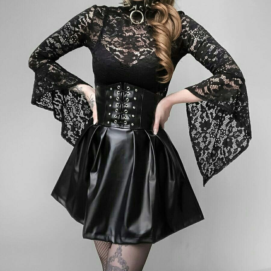 Gothic PU Leather Lace Up Underbust Skirt