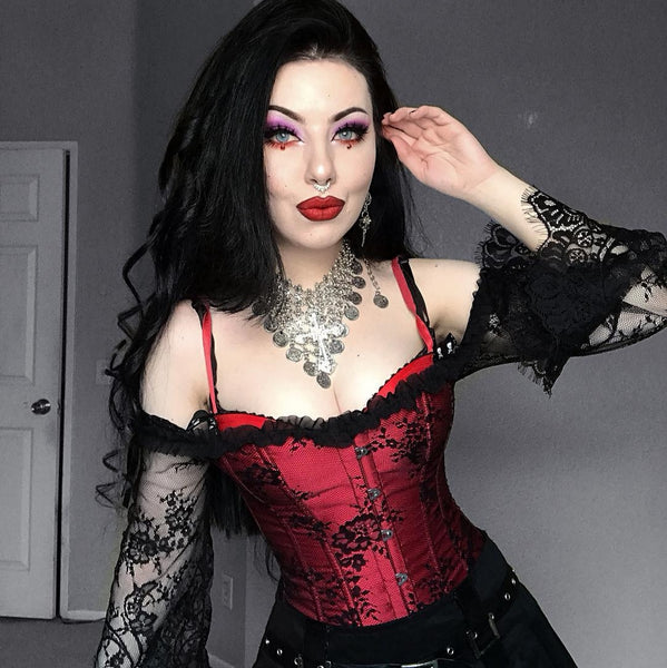Romantic Gothic Off Shoulder Lace Corset