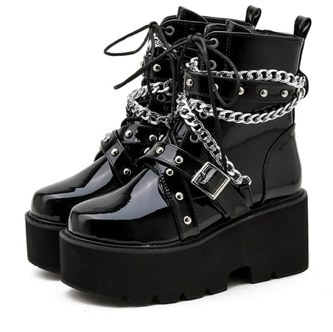 Gothic Grunge Chains and Studs Buckle Strap Platform Boots