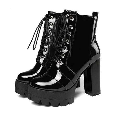 Gothic Patent Leather Lace Up Zipper Heeled Boots