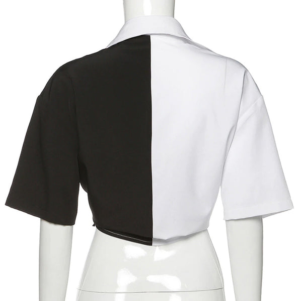 Gothic Grunge Two-Tone Black White Tie Collared Top