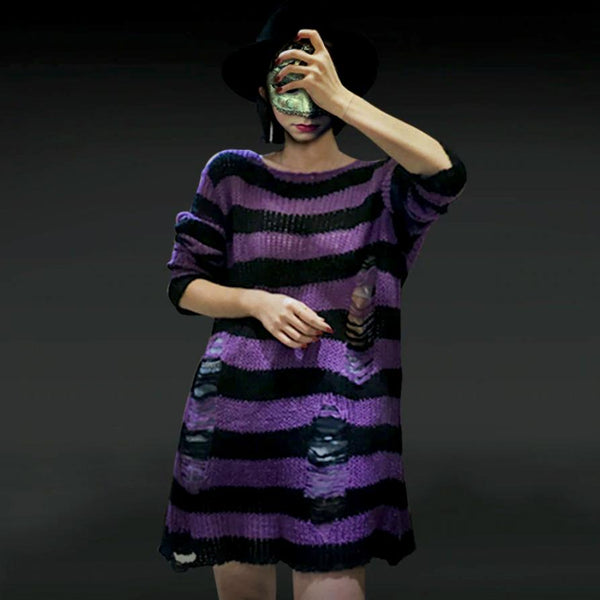 Gothic Ripped Striped Knitted Sweater Top (Available in 11 colors)