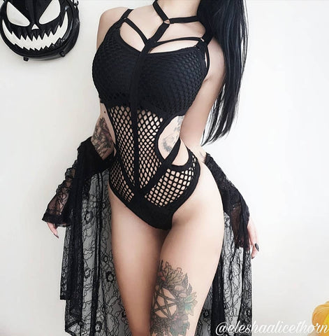 Gothic Fishnet Bodysuit (Available in size XS to 5XL)