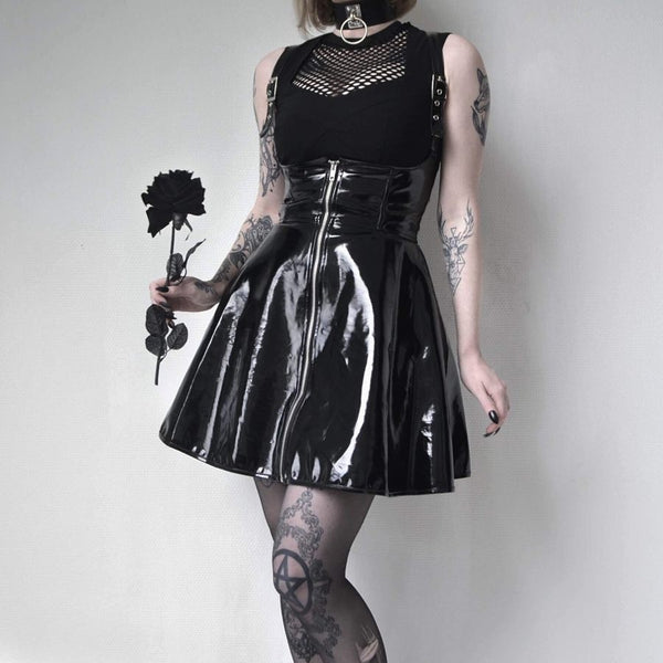 Gothic Sexy PVC Suspender Skirt Dress