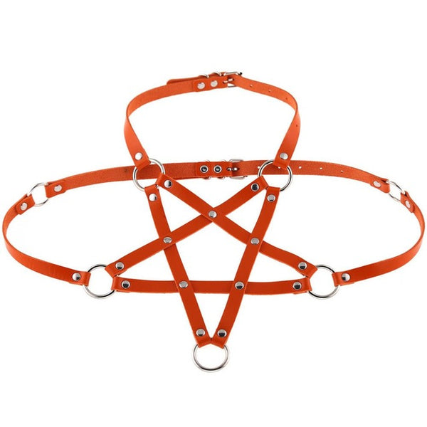 Gothic Pentagram O-Ring Body Harness (Available in 16 colors)