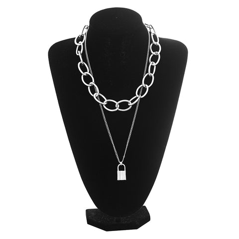 Gothic Grunge Padlock Chain Choker Necklace