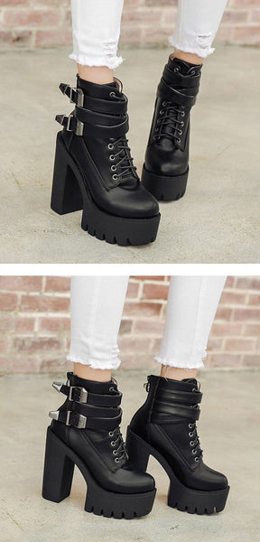Gothic Double Strap Buckles Lace Up Platform Boots