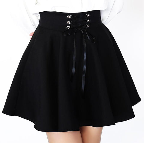 Gothic Harajuku Lace Up Waist Mini Skirt