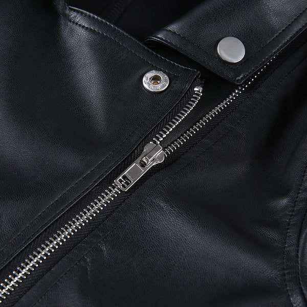 Gothic Motorcycle Faux Leather Crop Jacket