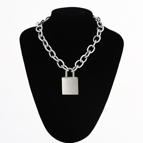 Gothic Grunge Large Padlock Chain Necklace