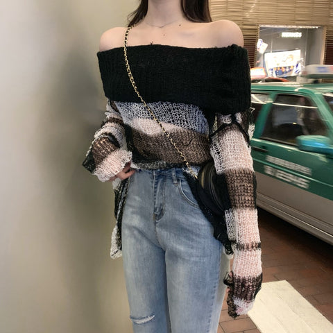 Gothic Striped Thin Knitted Off Shoulder Top
