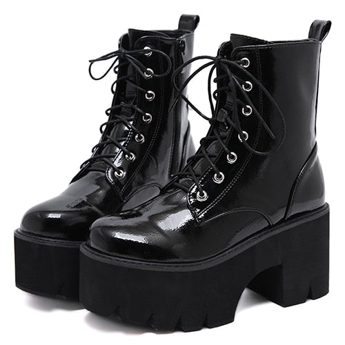Gothic Lace Up Patent Leather Platform Boots