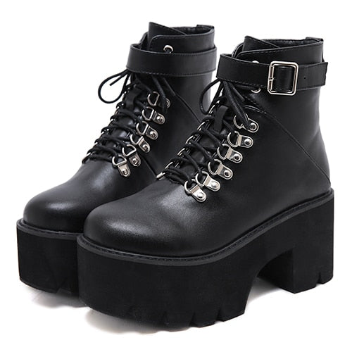 Gothic Grunge Lace Up Buckle Chunky Ankle Platform Boots