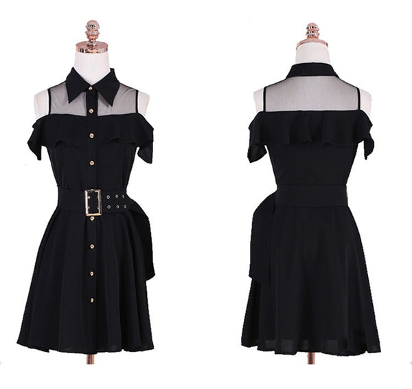 Gothic Cold Shoulder Turn Down Collar Belted Dress