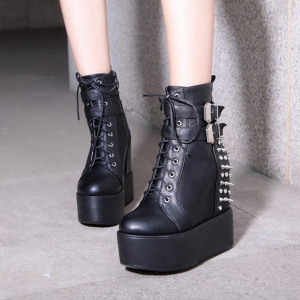 Gothic Metal Spikes and Rivets Wedge Platform Boots