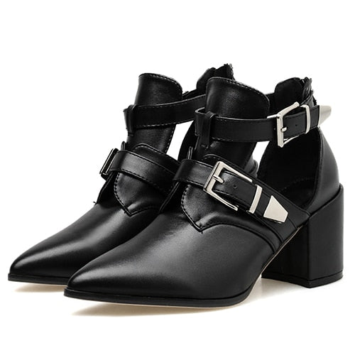 Gothic Pointed Toe Buckle Pumps Shoes