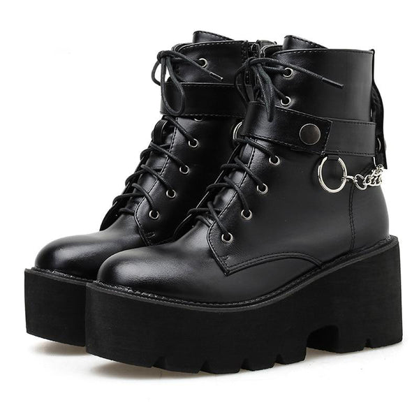 Gothic Chain Strap Lace Up Platform Boots