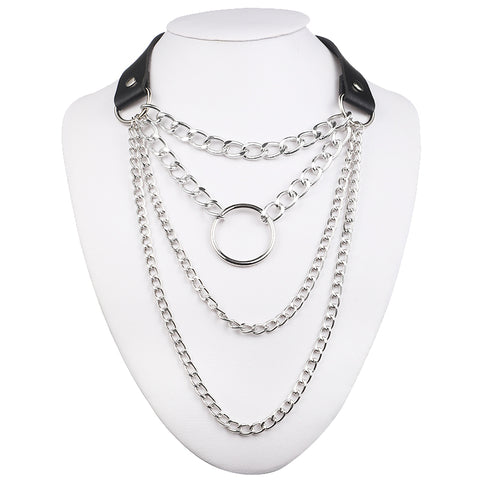 Gothic Layered Chain O-Ring Choker Collar Necklace