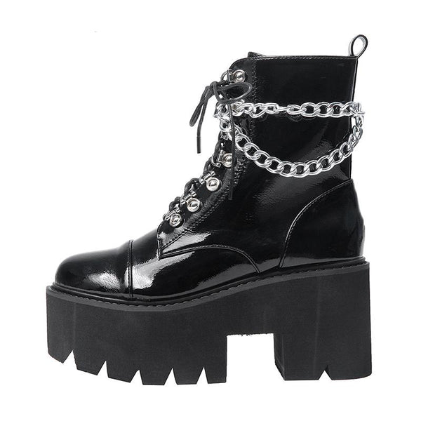 Gothic Patent Leather Wrap Around Chains Platform Boots