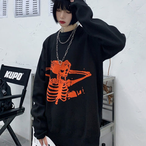 Gothic Harajuku Skull Skeleton Sweater Top