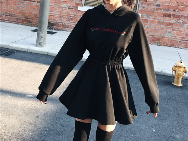 Gothic Harajuku Streetwear LOVE IS A LOSING GAME Hoodie Mini Dress