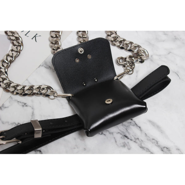 Gothic Chain Strap O-Ring Faux Leather Mini Belt Bag