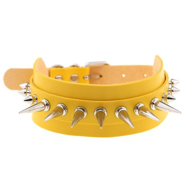 Gothic Punk Spikes Rivets Large Choker Necklace