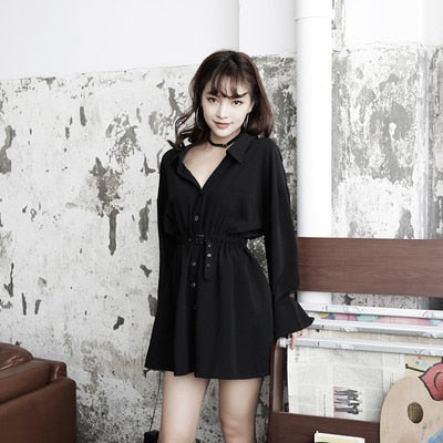 Gothic Belted V Collar Mini Dress Shirt