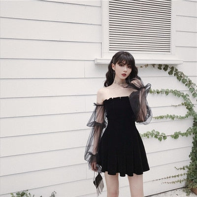 Gothic Off Shoulder Lantern Mesh Sleeve Mini Dress (Available in size S to XL)