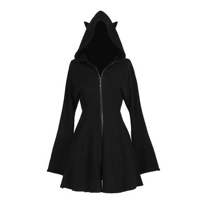 Gothic Cat Ears Zipper Hoodie Dress