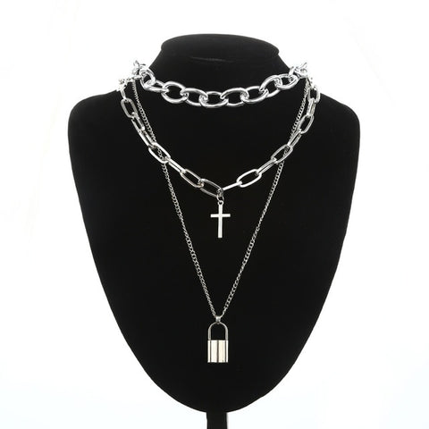 Gothic Layered Chain Cross and Padlock Necklace