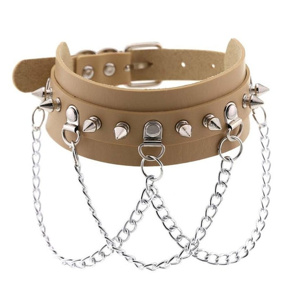 Gothic Punk Spikes and Chains Choker Necklace