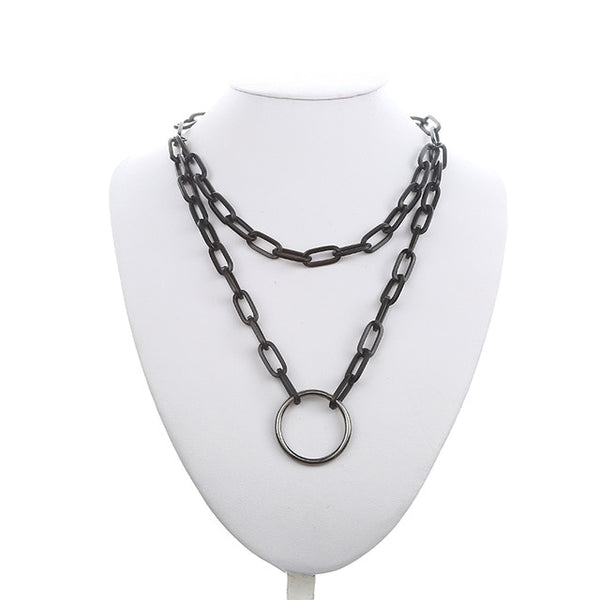 Gothic Grunge Black Chain Padlock O-Ring Necklace