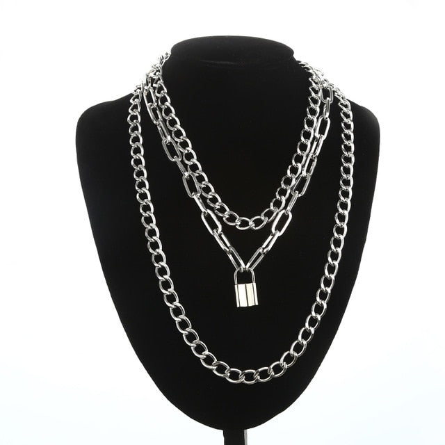 Gothic Grunge Layered Chain Padlock Necklace