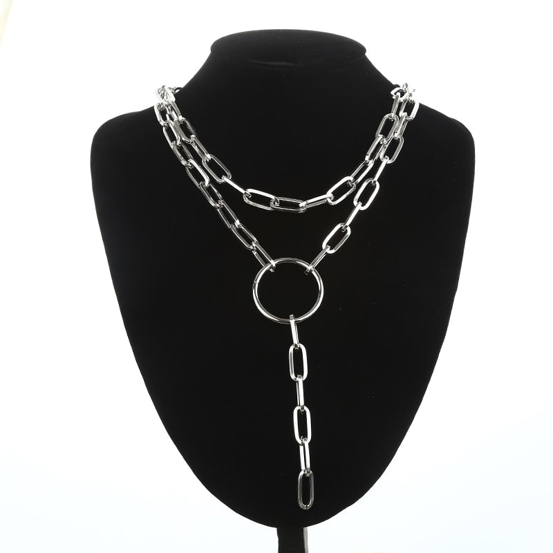 Gothic Grunge Punk O-Ring Layered Chain Necklace