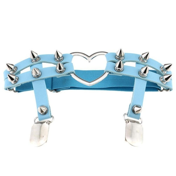 Gothic Harajuku Heart and Spikes Leg Garter Suspender (Available in 8 colors)