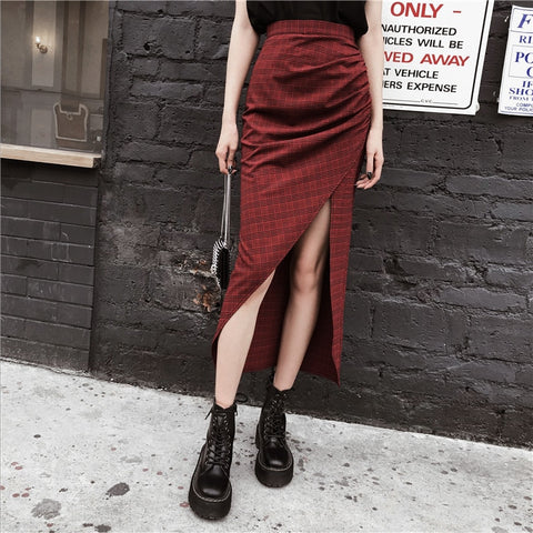 Gothic Grunge Plaid Asymmetrical Long Skirt