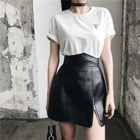 Gothic PU Leather High Waist Zipper Mini Skirt