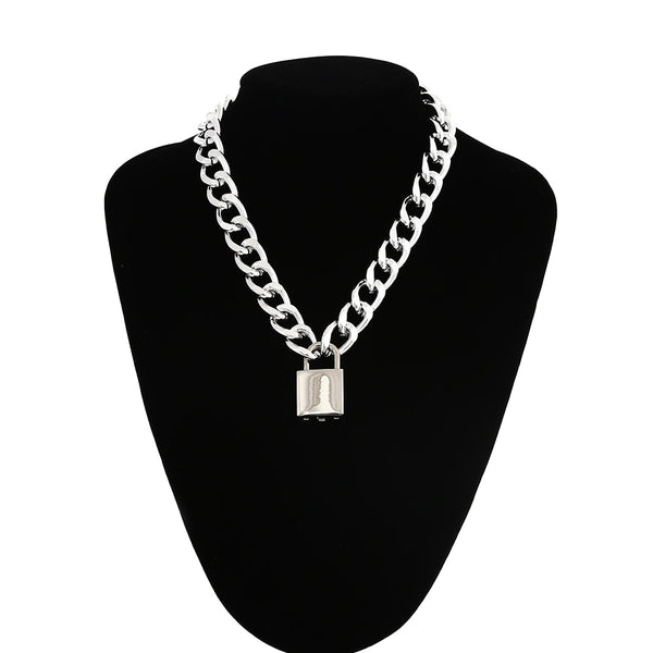 Gothic Grunge Padlock Thick Chain Necklace