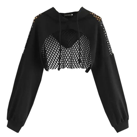 Gothic Grunge Black Fishnet Hoodie Pullover Crop Top