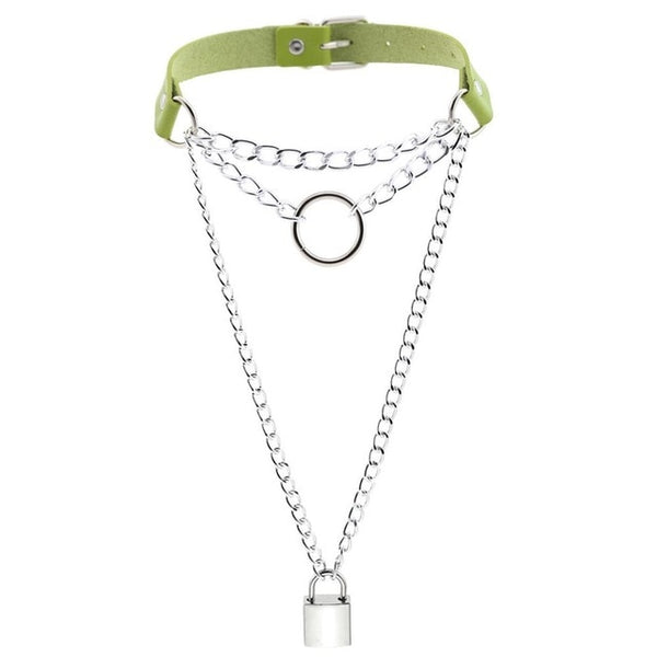 Gothic Chain Padlock Multilayer Choker Necklace (Available in 16 colors)