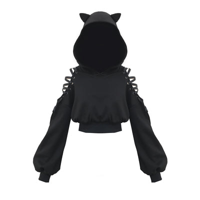 Gothic Hollow Out Lace Up Sleeves Cat Ears Hoodie Top